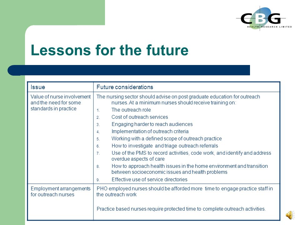 Lessons for the future IssueFuture considerations Wide variation Who receives outreach Contact rates Service contracts should make explicit: 1. Outrea