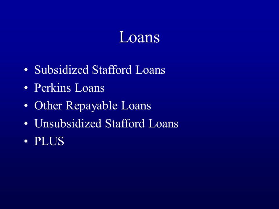Loans Subsidized Stafford Loans Perkins Loans Other Repayable Loans Unsubsidized Stafford Loans PLUS