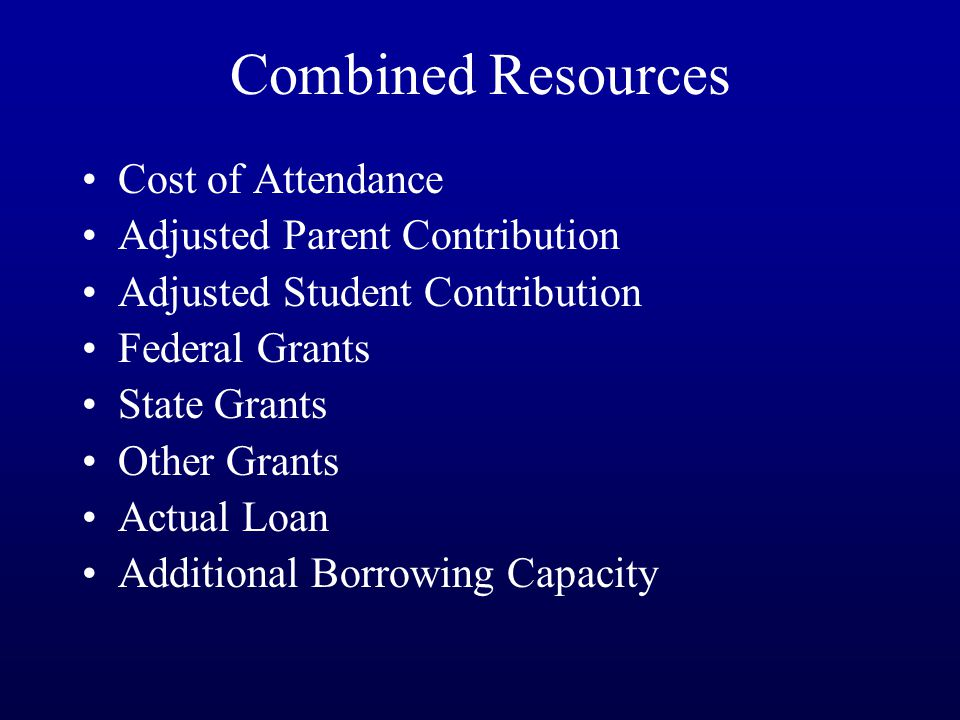 Combined Resources Cost of Attendance Adjusted Parent Contribution Adjusted Student Contribution Federal Grants State Grants Other Grants Actual Loan Additional Borrowing Capacity