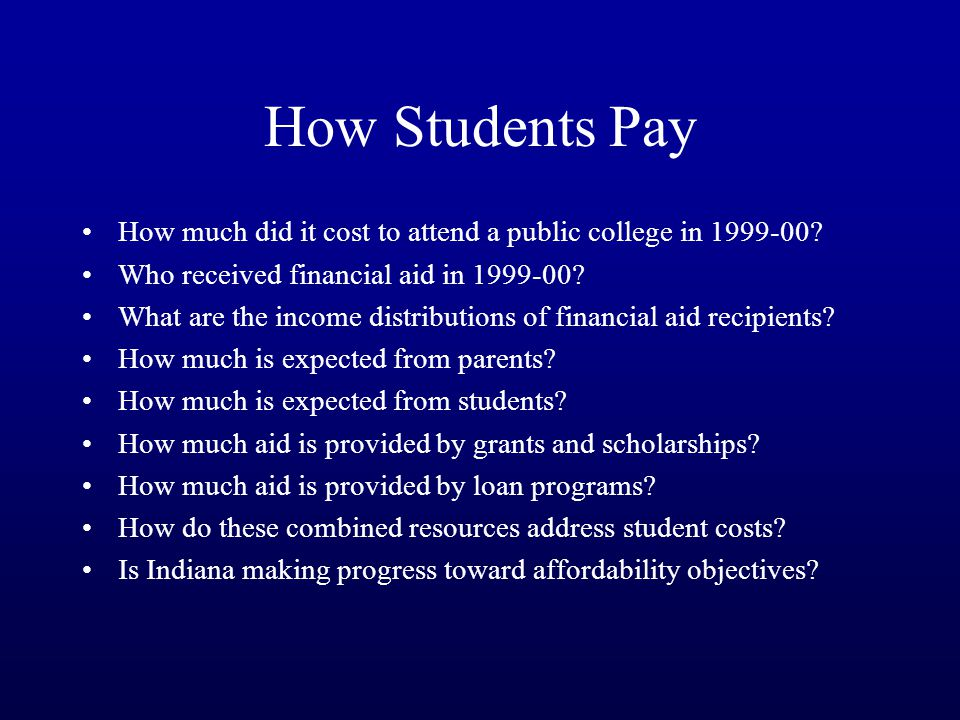 How Students Pay How much did it cost to attend a public college in 1999-00.