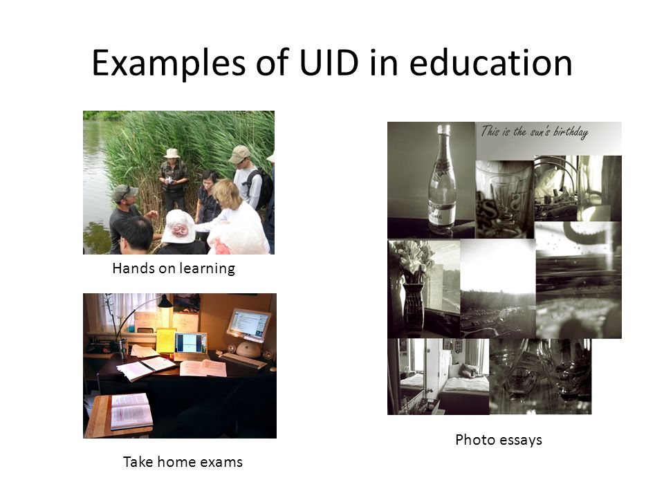 Examples of UID in education Hands on learning Take home exams Photo essays