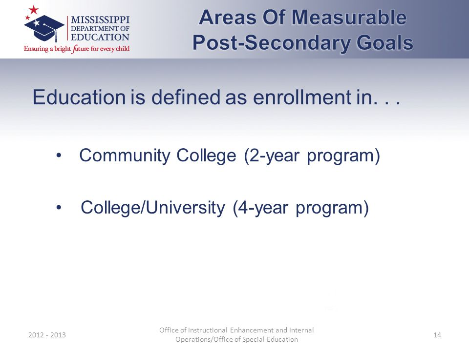 Education is defined as enrollment in...