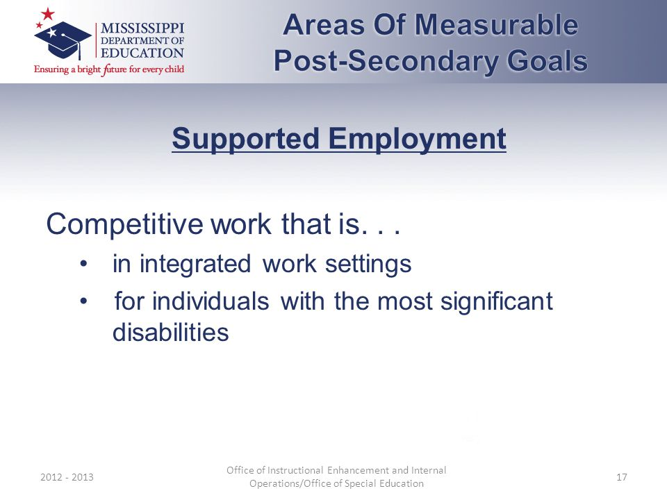 Supported Employment Competitive work that is...