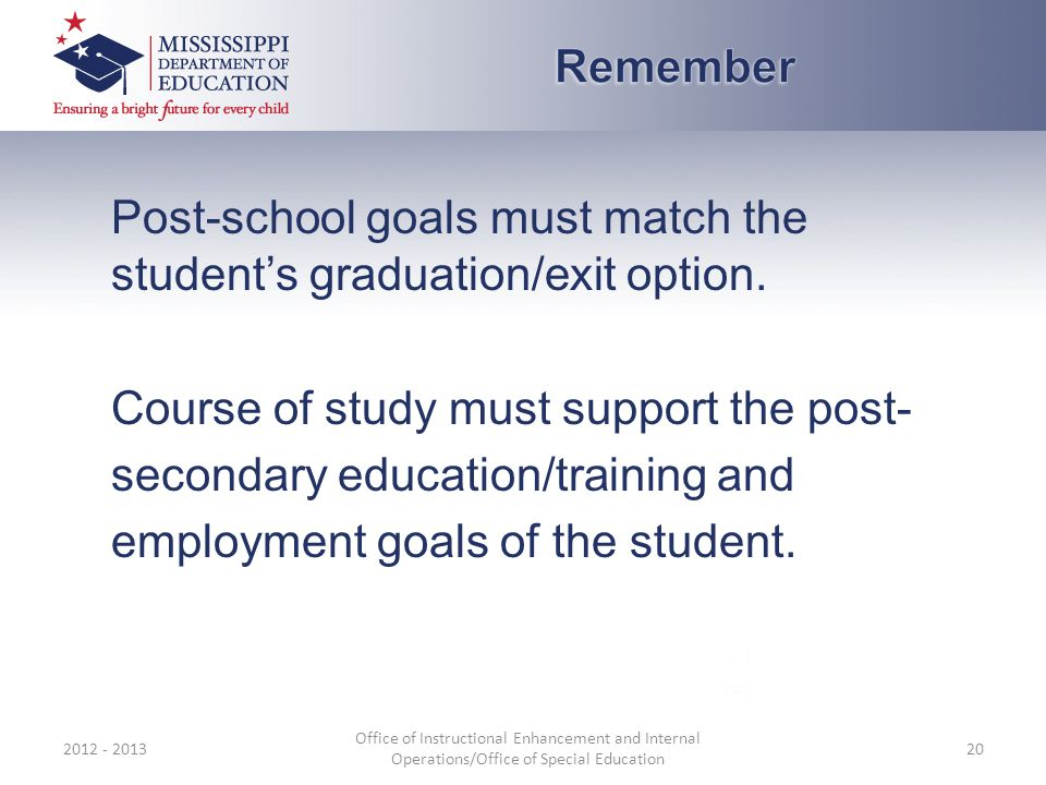 Post-school goals must match the student's graduation/exit option.