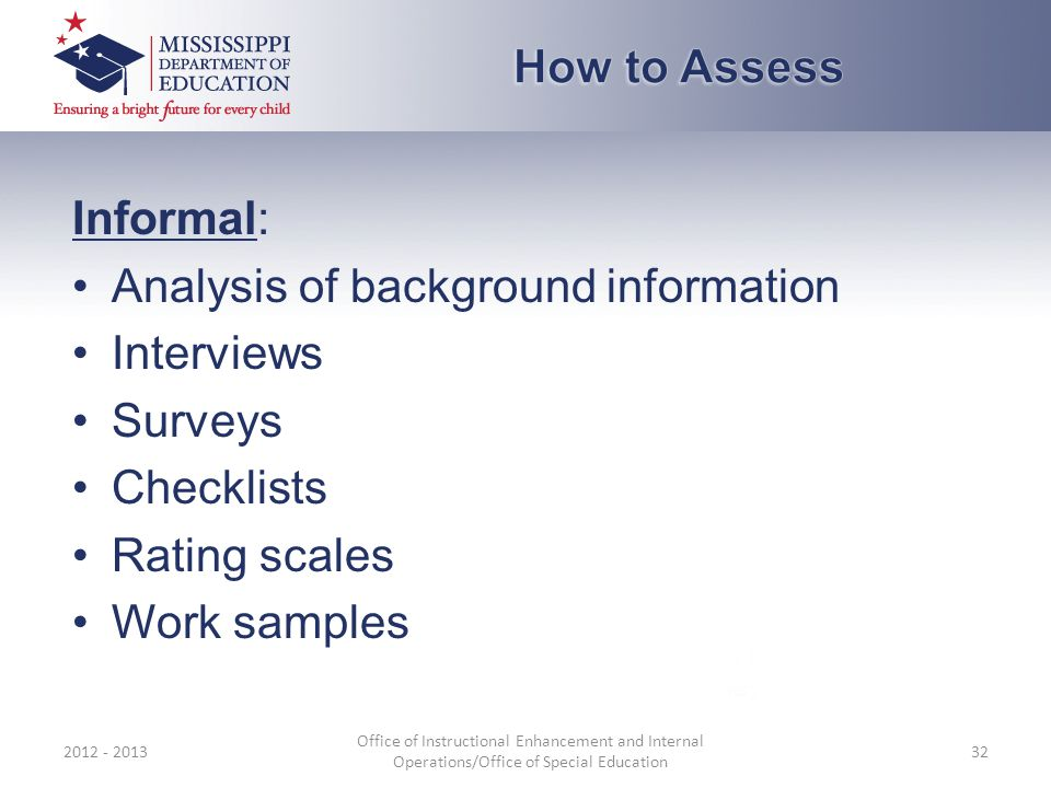 Informal: Analysis of background information Interviews Surveys Checklists Rating scales Work samples 2012 - 2013 Office of Instructional Enhancement and Internal Operations/Office of Special Education 32