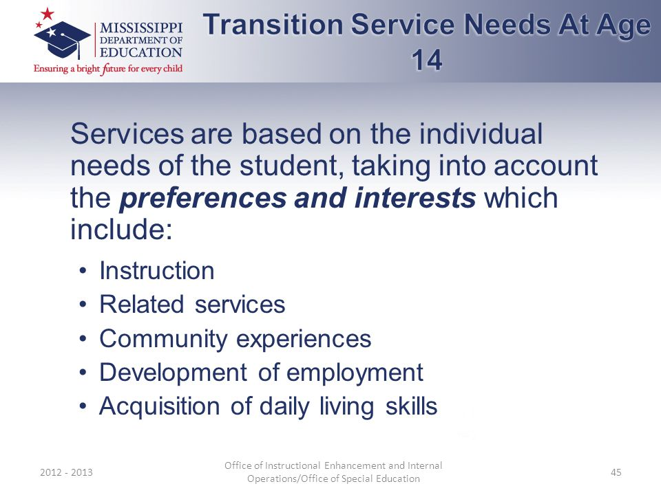 Services are based on the individual needs of the student, taking into account the preferences and interests which include: Instruction Related services Community experiences Development of employment Acquisition of daily living skills 2012 - 2013 Office of Instructional Enhancement and Internal Operations/Office of Special Education 45