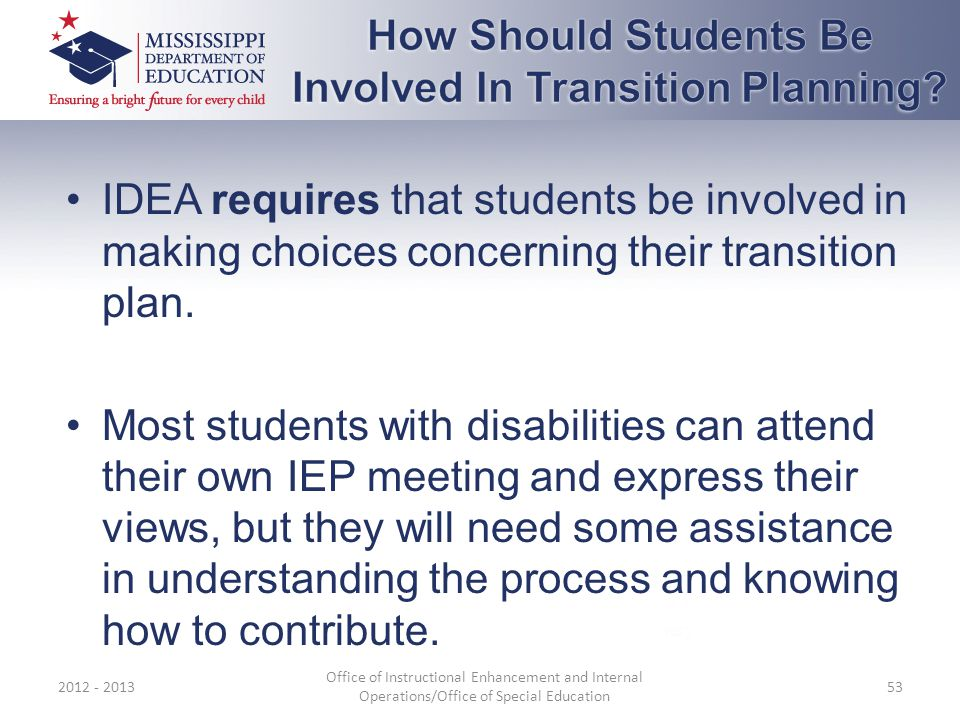 IDEA requires that students be involved in making choices concerning their transition plan.