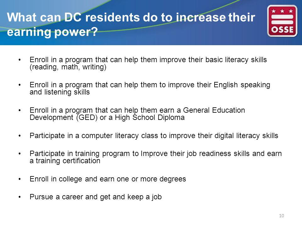 Enroll in a program that can help them improve their basic literacy skills (reading, math, writing) Enroll in a program that can help them to improve