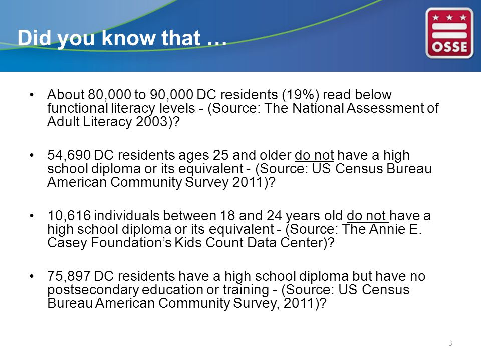 Many DC residents with low level literacy skills are disproportionally unemployed.