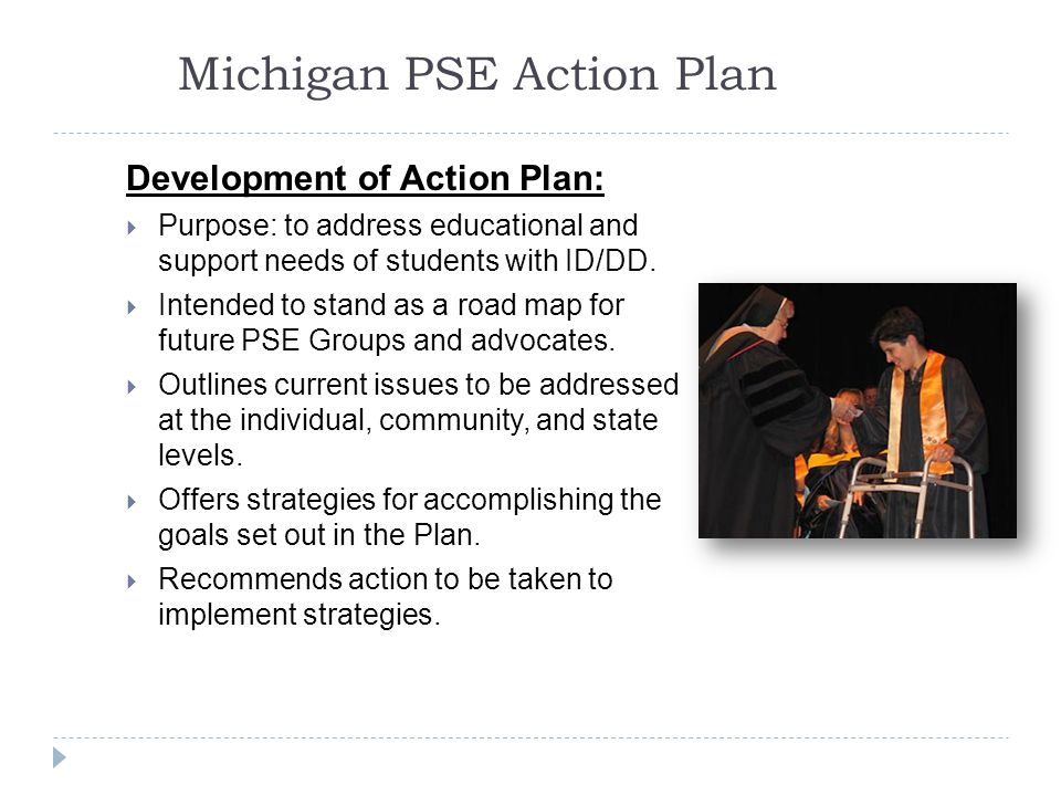 Michigan PSE Action Plan Development of Action Plan:  Purpose: to address educational and support needs of students with ID/DD.
