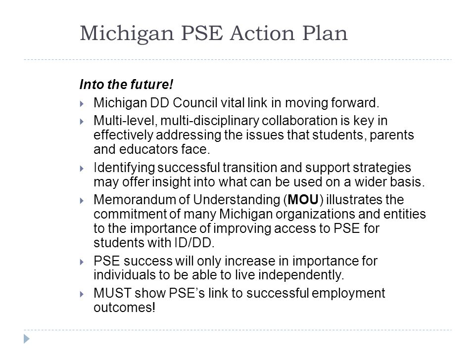 Into the future.  Michigan DD Council vital link in moving forward.