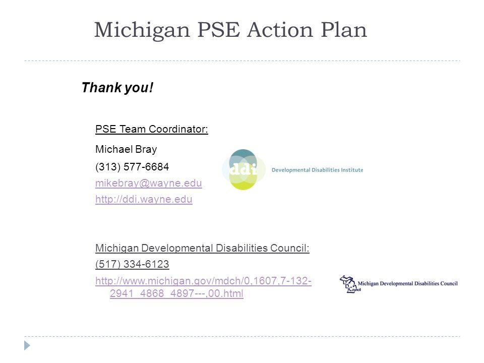 Michigan PSE Action Plan Thank you! PSE Team Coordinator: Michael Bray (313) 577-6684 mikebray@wayne.edu http://ddi.wayne.edu Michigan Developmental D