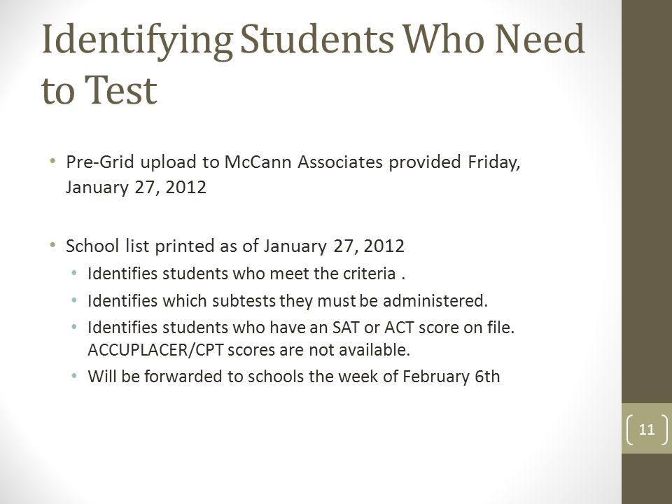 Identifying Students Who Need to Test Pre-Grid upload to McCann Associates provided Friday, January 27, 2012 School list printed as of January 27, 2012 Identifies students who meet the criteria.