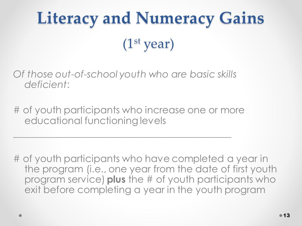 Literacy and Numeracy Gains (1 st year) Literacy and Numeracy Gains (1 st year) Of those out-of-school youth who are basic skills deficient: # of youth participants who increase one or more educational functioning levels _____________________________________________ # of youth participants who have completed a year in the program (i.e., one year from the date of first youth program service) plus the # of youth participants who exit before completing a year in the youth program 13