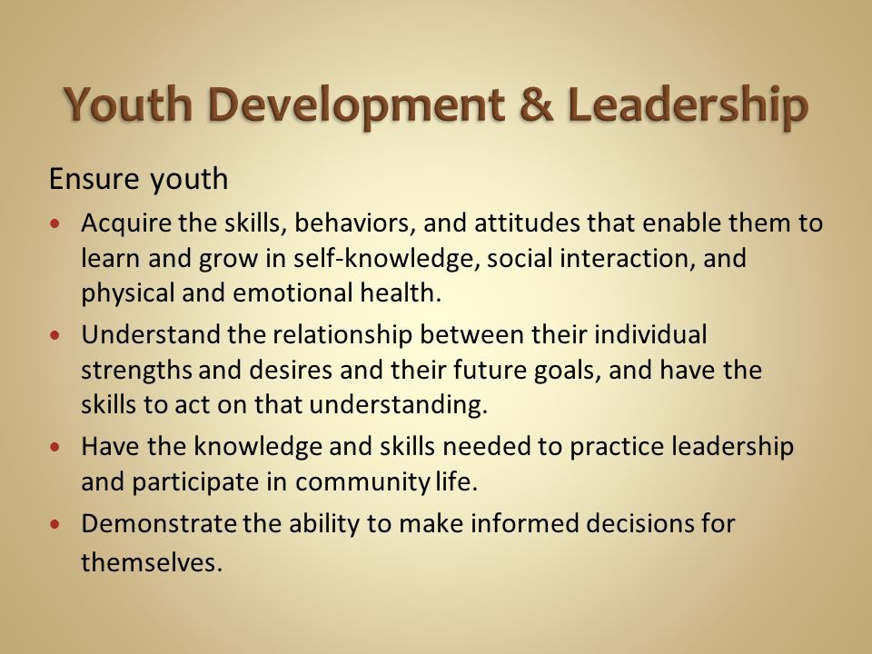Ensure youth Acquire the skills, behaviors, and attitudes that enable them to learn and grow in self-knowledge, social interaction, and physical and e