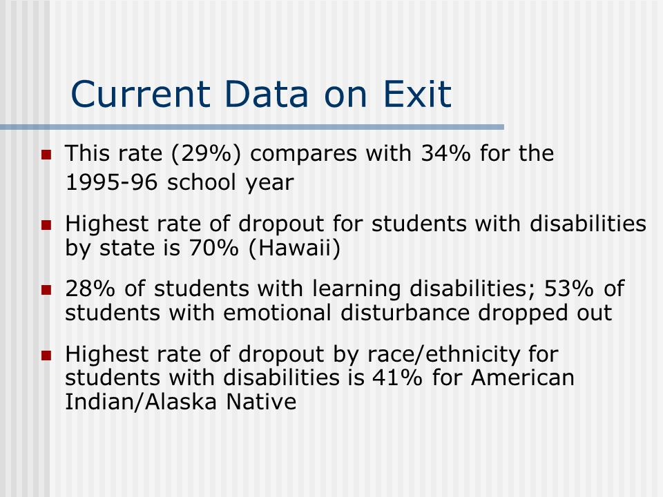 Current Data on Exit This rate (29%) compares with 34% for the 1995-96 school year Highest rate of dropout for students with disabilities by state is 70% (Hawaii) 28% of students with learning disabilities; 53% of students with emotional disturbance dropped out Highest rate of dropout by race/ethnicity for students with disabilities is 41% for American Indian/Alaska Native