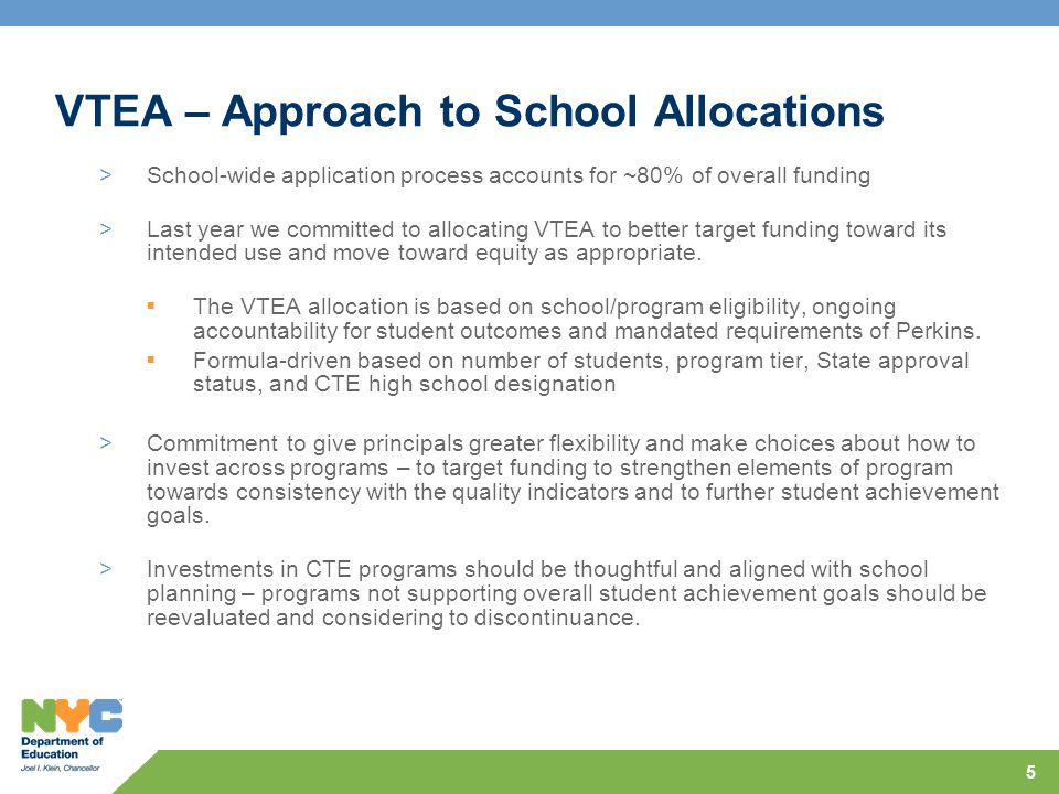 5 VTEA – Approach to School Allocations >School-wide application process accounts for ~80% of overall funding >Last year we committed to allocating VTEA to better target funding toward its intended use and move toward equity as appropriate.