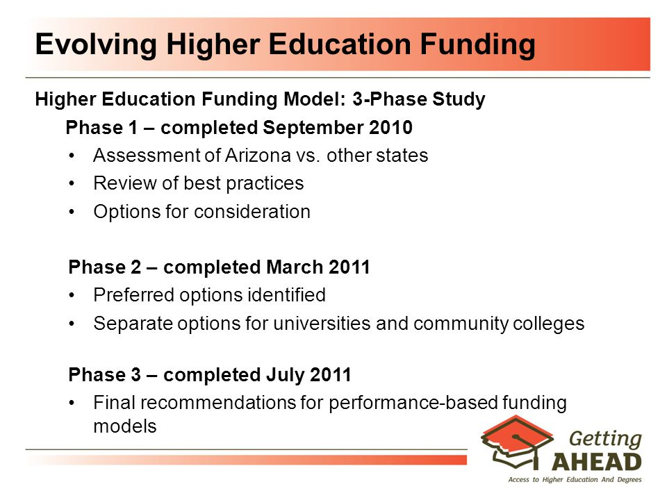 Evolving Higher Education Funding Higher Education Funding Model: 3-Phase Study Phase 1 – completed September 2010 Assessment of Arizona vs.