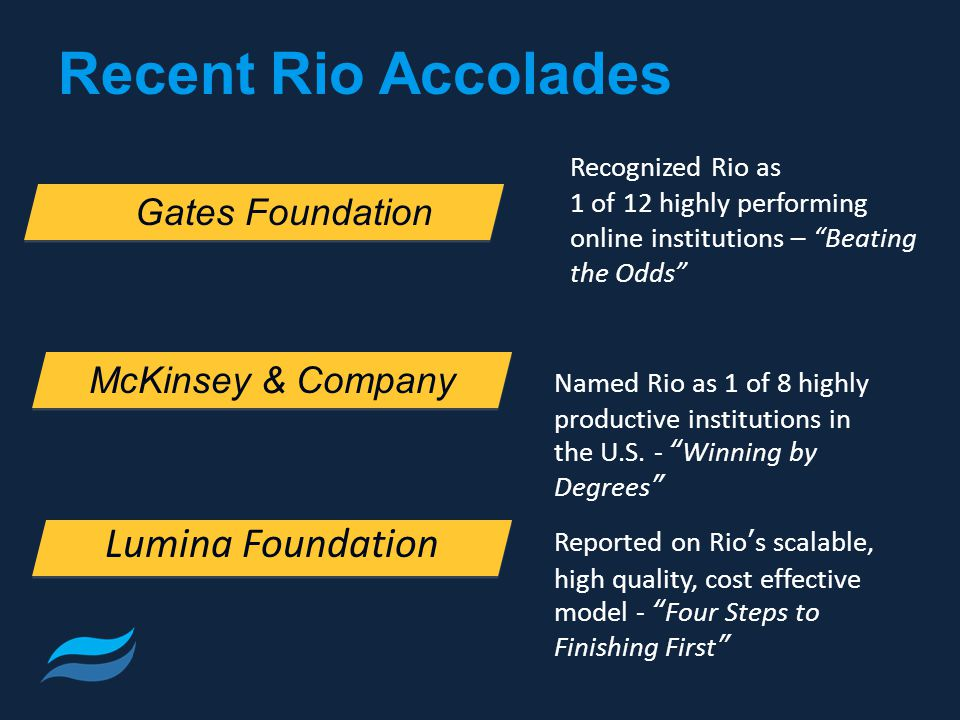 Recent Rio Accolades Recognized Rio as 1 of 12 highly performing online institutions – Beating the Odds Named Rio as 1 of 8 highly productive institutions in the U.S.