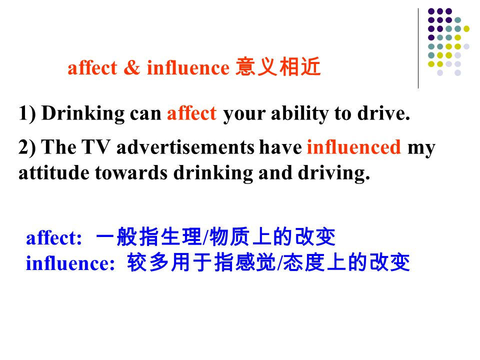 affect & influence 意义相近 affect: 一般指生理 / 物质上的改变 influence: 较多用于指感觉 / 态度上的改变 1) Drinking can affect your ability to drive.