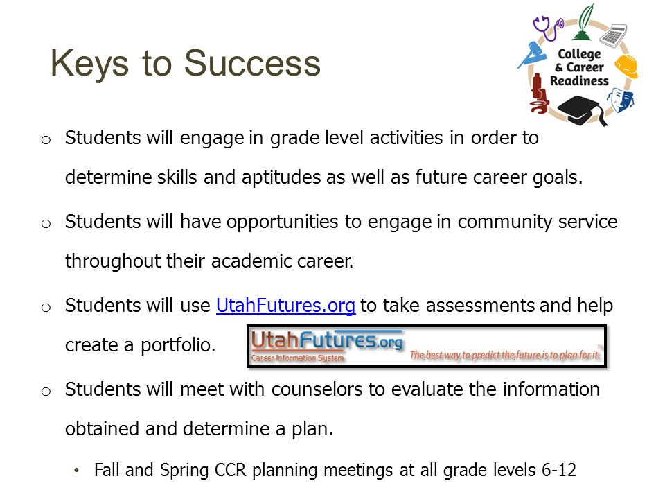Keys to Success o Students will engage in grade level activities in order to determine skills and aptitudes as well as future career goals.