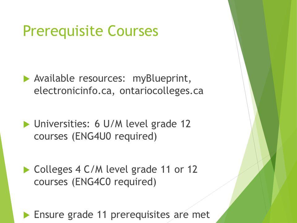 Prerequisite Courses  Available resources: myBlueprint, electronicinfo.ca, ontariocolleges.ca  Universities: 6 U/M level grade 12 courses (ENG4U0 re