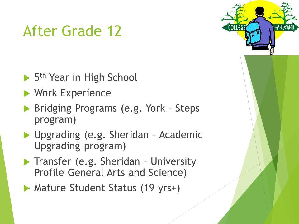 After Grade 12  5 th Year in High School  Work Experience  Bridging Programs (e.g. York – Steps program)  Upgrading (e.g. Sheridan – Academic Upgr