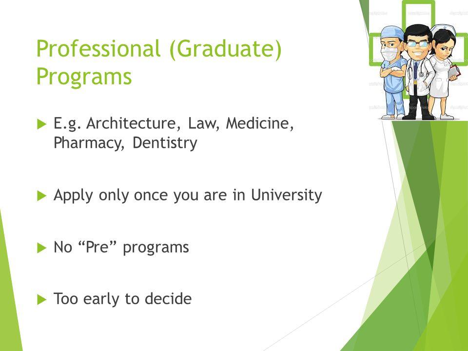Professional (Graduate) Programs  E.g.