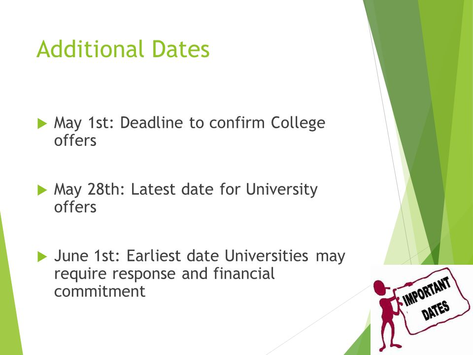 Additional Dates  May 1st: Deadline to confirm College offers  May 28th: Latest date for University offers  June 1st: Earliest date Universities may require response and financial commitment