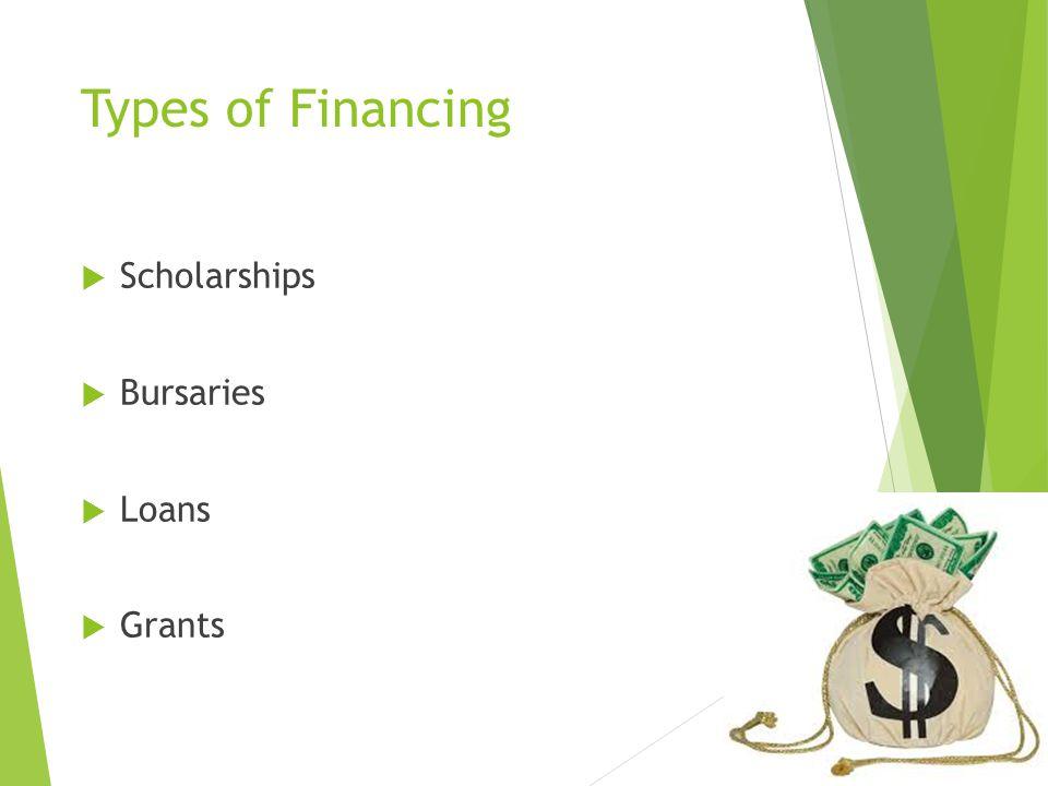 Types of Financing  Scholarships  Bursaries  Loans  Grants