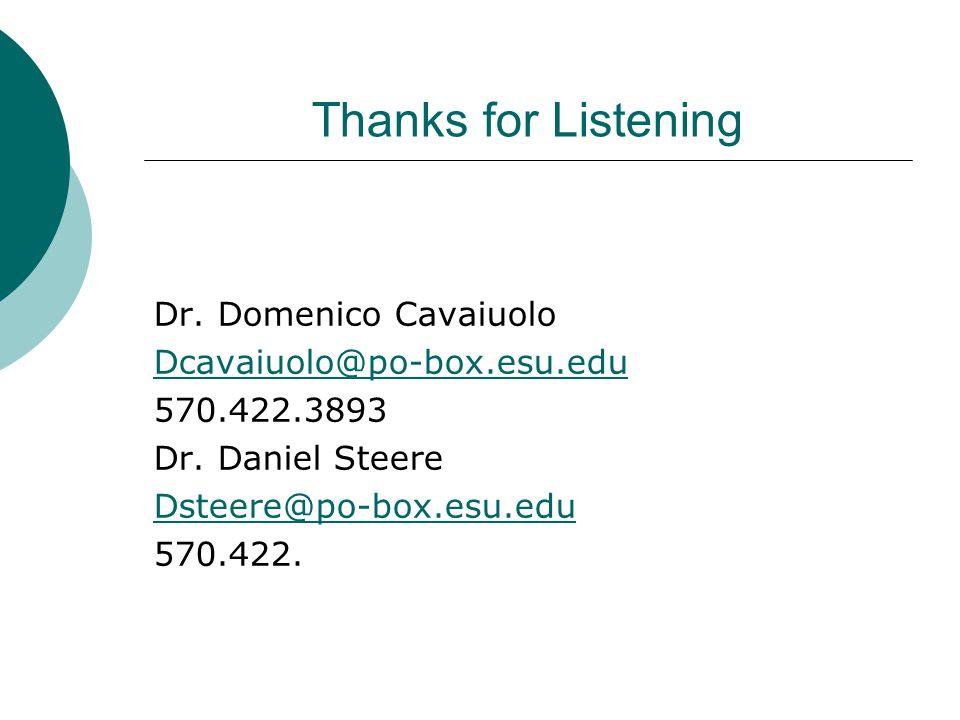 Thanks for Listening Dr. Domenico Cavaiuolo Dcavaiuolo@po-box.esu.edu 570.422.3893 Dr. Daniel Steere Dsteere@po-box.esu.edu 570.422.