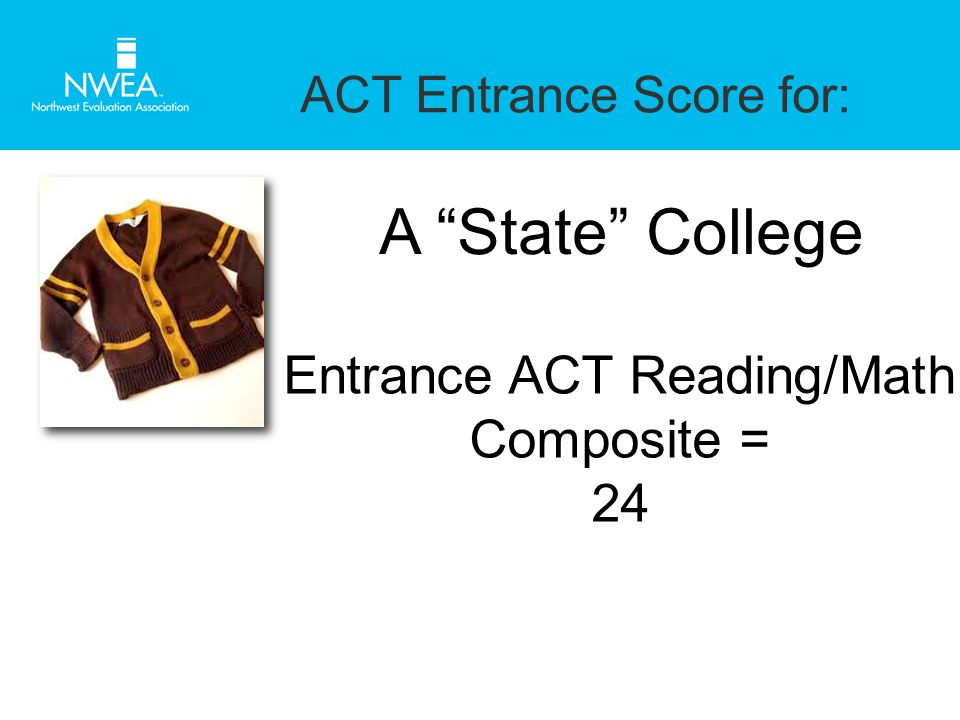 ACT Entrance Score for: A State College Entrance ACT Reading/Math Composite = 24
