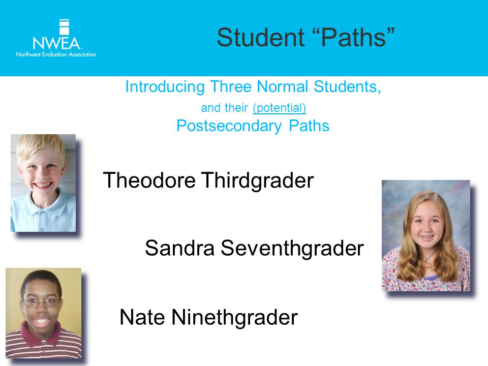 Student Paths Introducing Three Normal Students, and their (potential) Postsecondary Paths Theodore Thirdgrader Sandra Seventhgrader Nate Ninethgrader