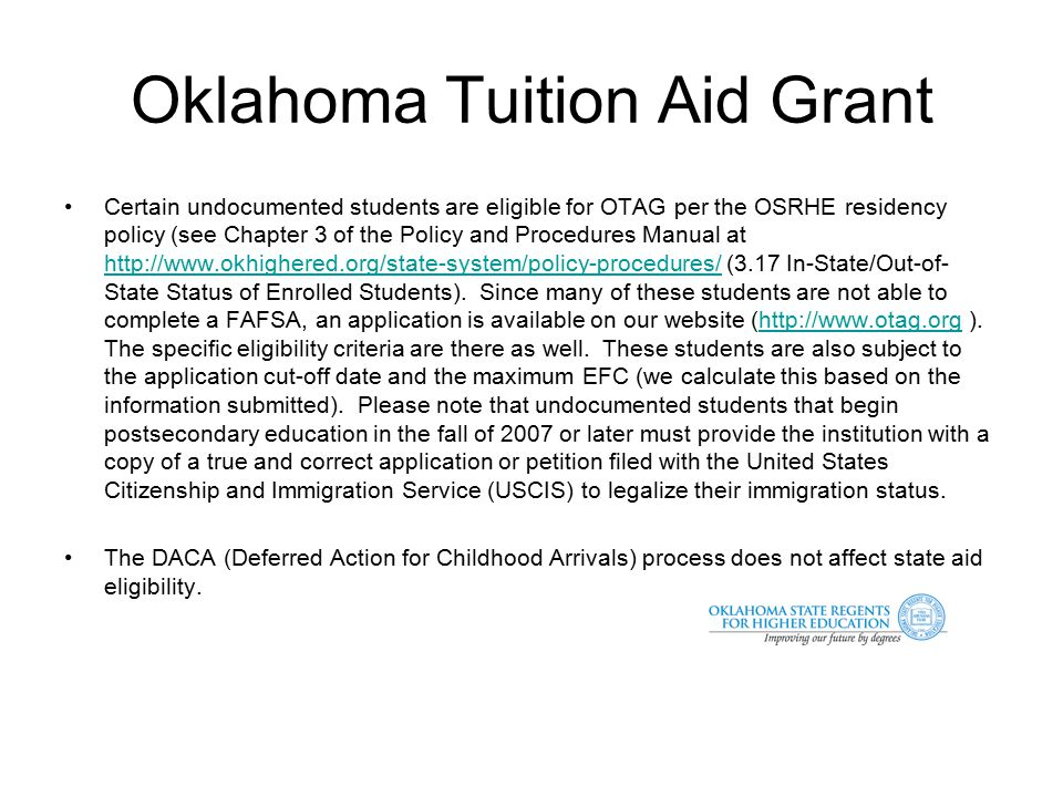 Oklahoma Tuition Aid Grant Amount (up to $1,000/yr.
