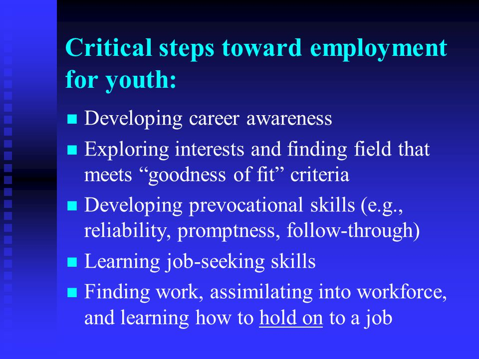 "Critical steps toward employment for youth: Developing career awareness Exploring interests and finding field that meets ""goodness of fit"" criteria De"