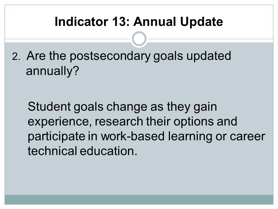 Indicator 13: Annual Update 2. Are the postsecondary goals updated annually.