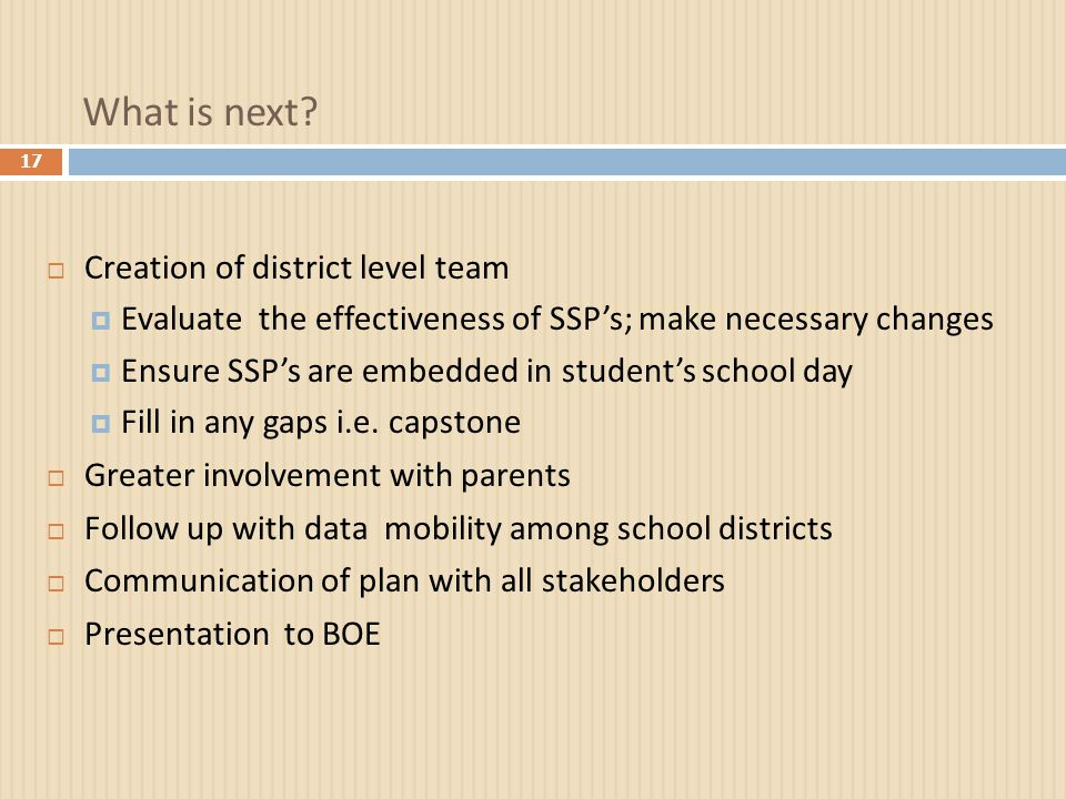 What is next?  Creation of district level team  Evaluate the effectiveness of SSP's; make necessary changes  Ensure SSP's are embedded in student's