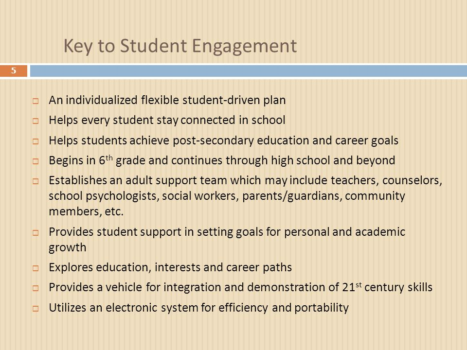 Key to Student Engagement 5  An individualized flexible student-driven plan  Helps every student stay connected in school  Helps students achieve p