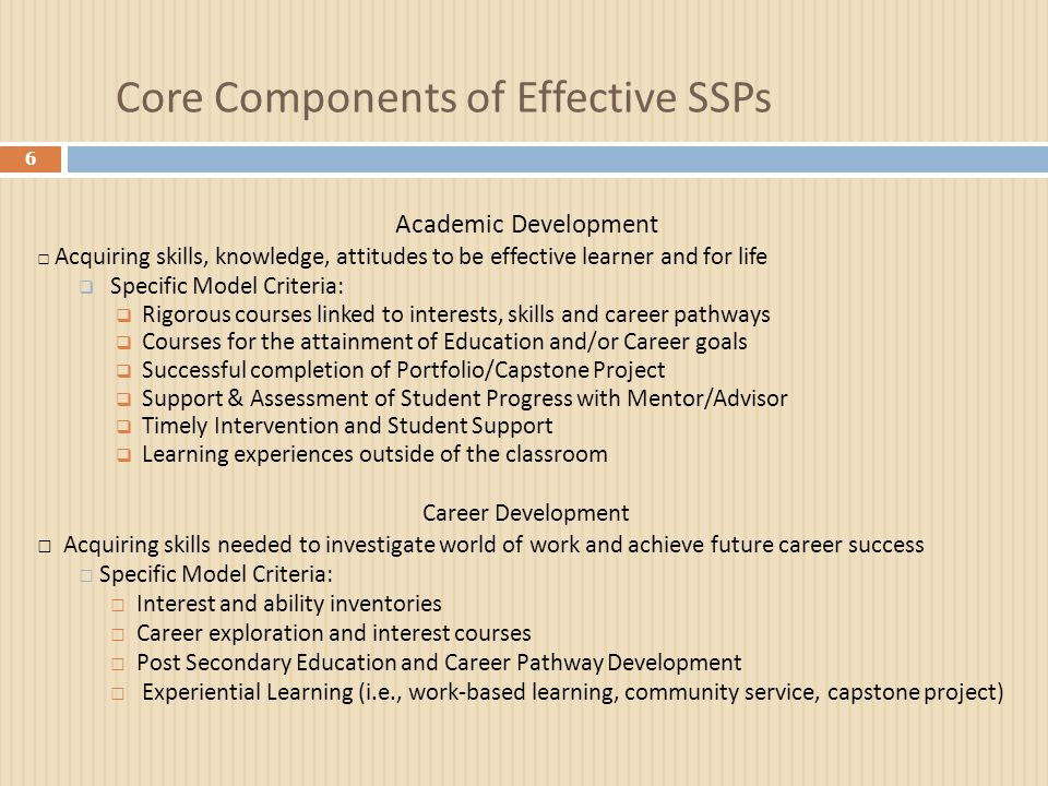 Core Components of Effective SSPs 6 Academic Development □ Acquiring skills, knowledge, attitudes to be effective learner and for life  Specific Mode