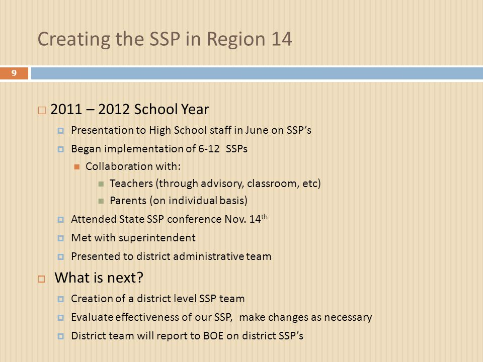 Creating the SSP in Region 14 9 □ 2011 – 2012 School Year  Presentation to High School staff in June on SSP's  Began implementation of 6-12 SSPs Collaboration with: Teachers (through advisory, classroom, etc) Parents (on individual basis)  Attended State SSP conference Nov.