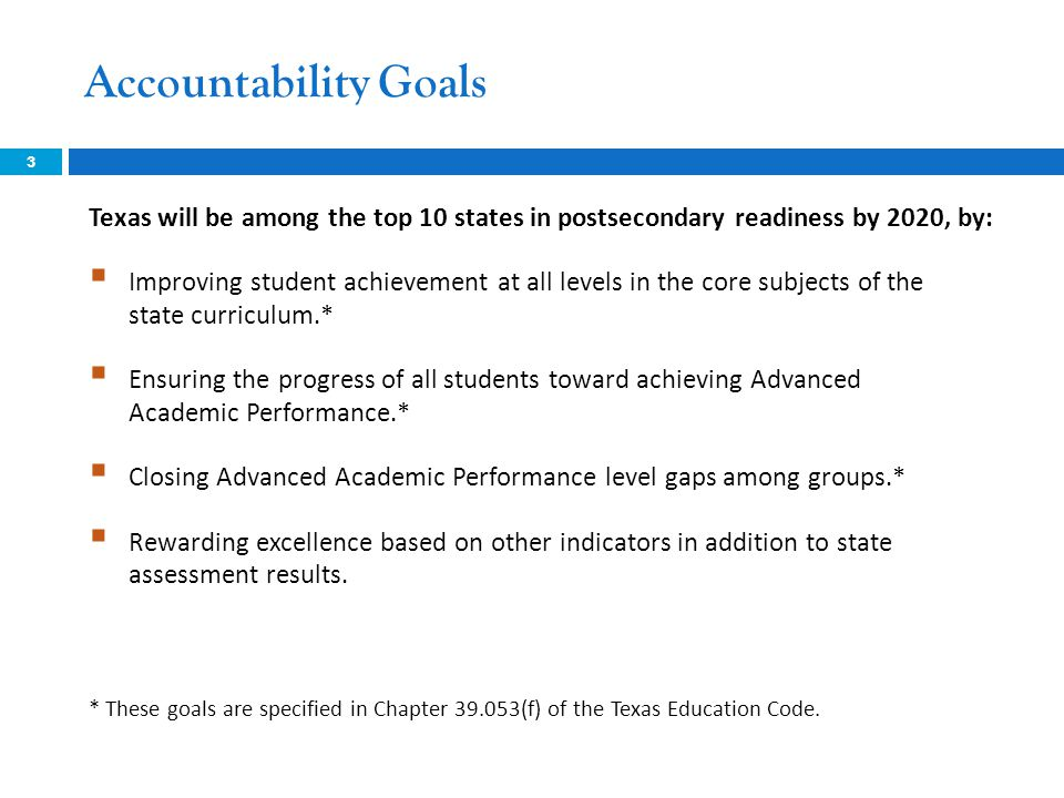 Accountability Goals 3 Texas will be among the top 10 states in postsecondary readiness by 2020, by:  Improving student achievement at all levels in the core subjects of the state curriculum.*  Ensuring the progress of all students toward achieving Advanced Academic Performance.*  Closing Advanced Academic Performance level gaps among groups.*  Rewarding excellence based on other indicators in addition to state assessment results.