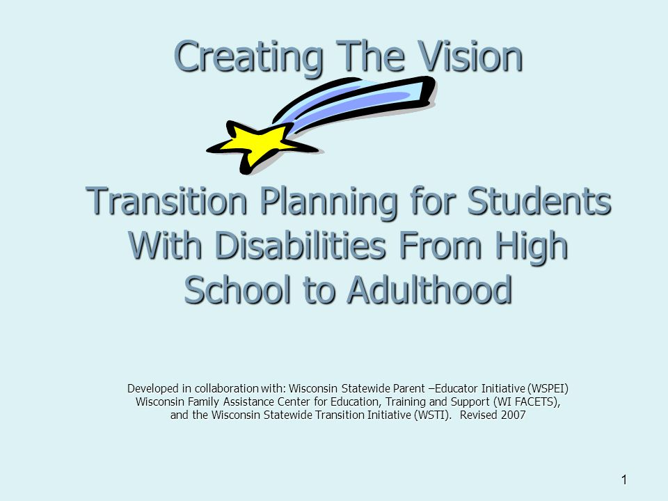 1 Creating The Vision Transition Planning for Students With Disabilities From High School to Adulthood Developed in collaboration with: Wisconsin Statewide Parent –Educator Initiative (WSPEI) Wisconsin Family Assistance Center for Education, Training and Support (WI FACETS), and the Wisconsin Statewide Transition Initiative (WSTI).
