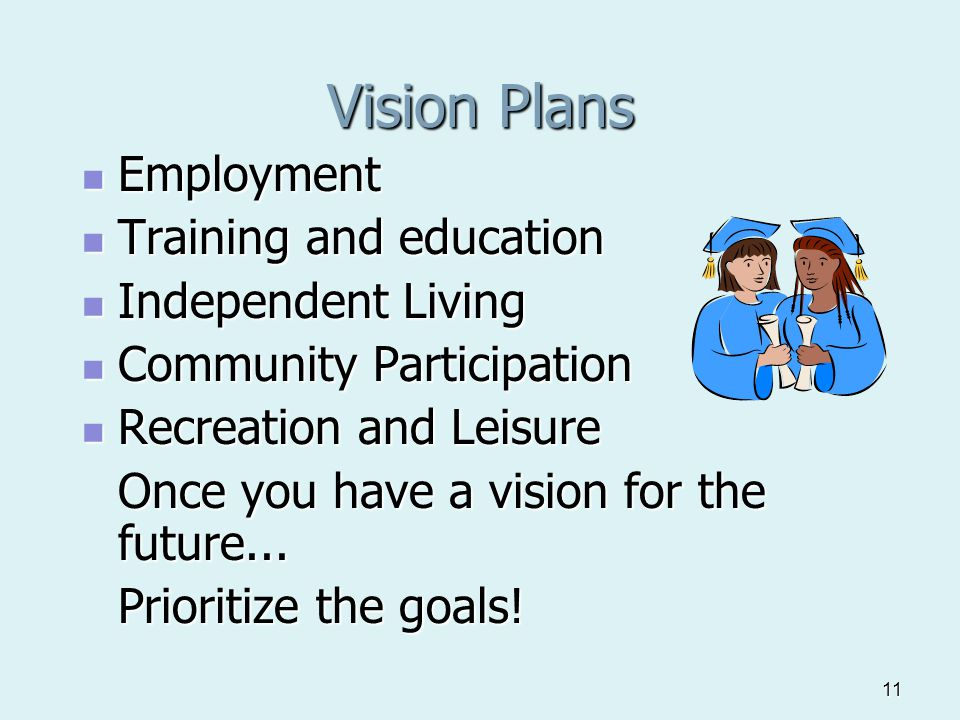 11 Vision Plans Employment Employment Training and education Training and education Independent Living Independent Living Community Participation Community Participation Recreation and Leisure Recreation and Leisure Once you have a vision for the future...