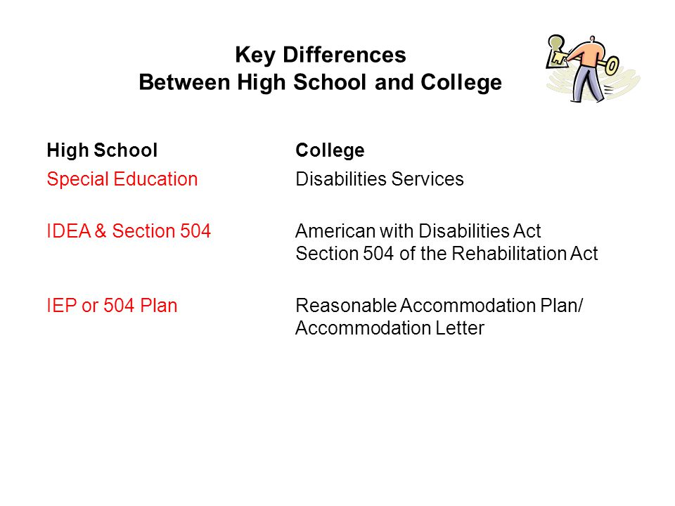 Key Differences Between High School and College High SchoolCollege Special EducationDisabilities Services IDEA & Section 504American with Disabilities Act Section 504 of the Rehabilitation Act IEP or 504 PlanReasonable Accommodation Plan/ Accommodation Letter