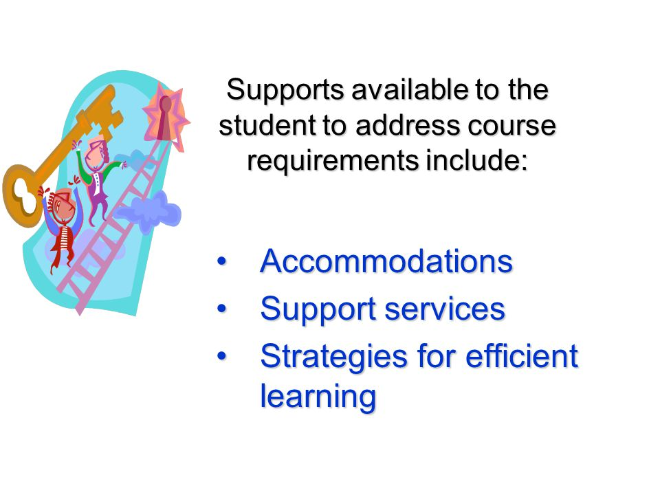 Supports available to the student to address course requirements include: AccommodationsAccommodations Support servicesSupport services Strategies for efficient learningStrategies for efficient learning