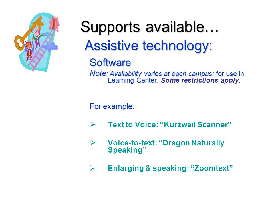 Supports available… Assistive technology: Software Note : Availability varies at each campus; for use in Learning Center.