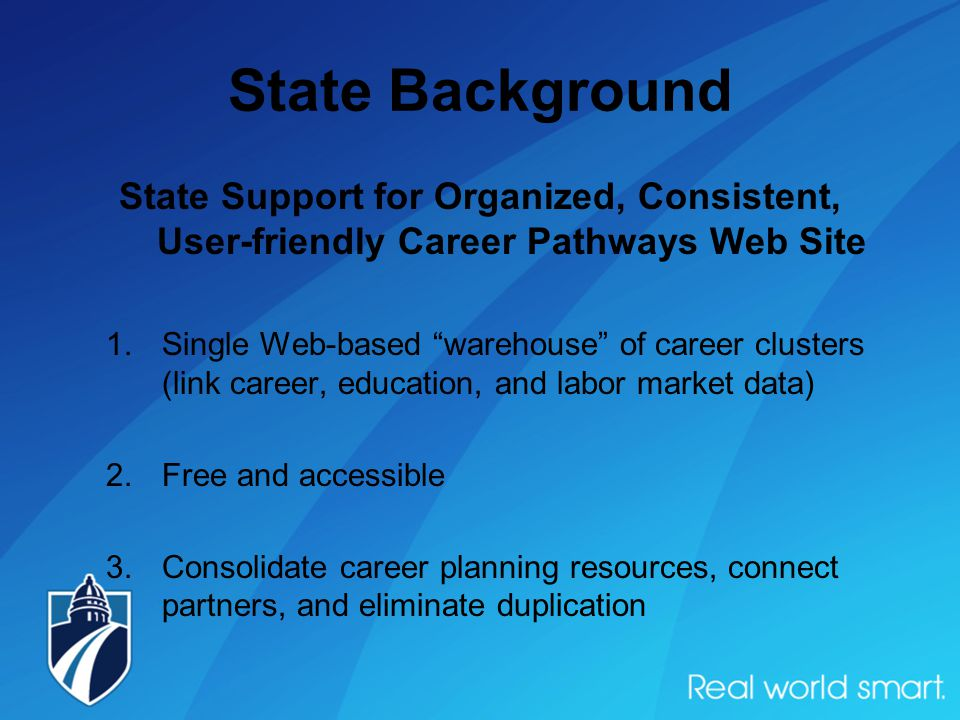State Background State Support for Organized, Consistent, User-friendly Career Pathways Web Site 1.Single Web-based warehouse of career clusters (link career, education, and labor market data) 2.Free and accessible 3.Consolidate career planning resources, connect partners, and eliminate duplication