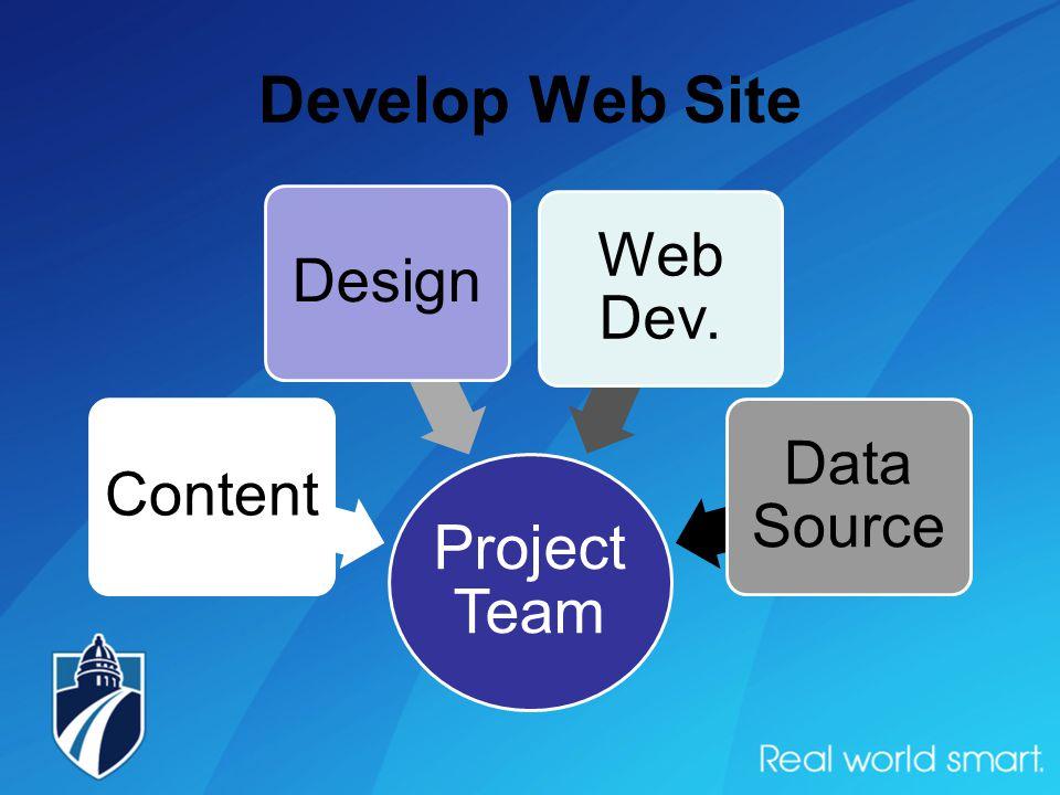Develop Web Site Project Team ContentDesign Web Dev. Data Source