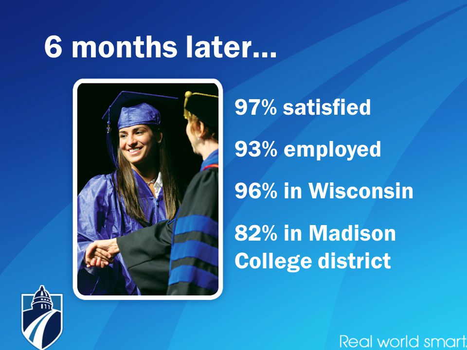 97% satisfied 93% employed 96% in Wisconsin 82% in Madison College district 6 months later…