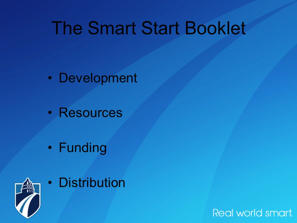The Smart Start Booklet Development Resources Funding Distribution